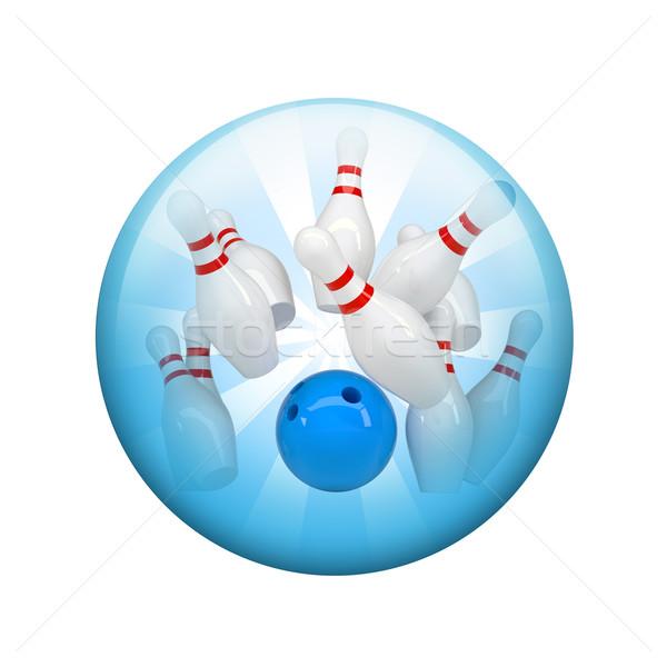 Palla da bowling sferico lucido pulsante web elemento Foto d'archivio © cherezoff