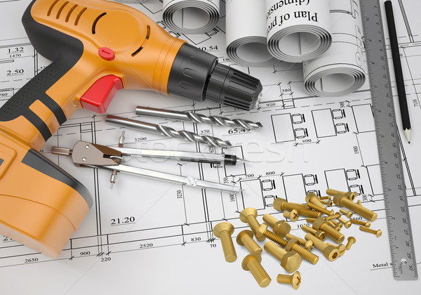 Electric screwdriver, fastening hardware, borers, some draftsman's instruments, scrolled drafts, arc Stock photo © cherezoff
