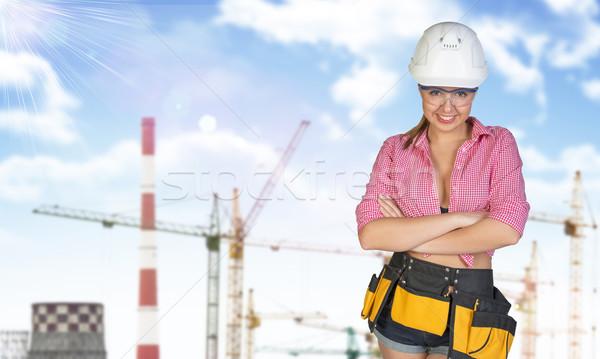Kadın araç kemer kask kule arka plan Stok fotoğraf © cherezoff