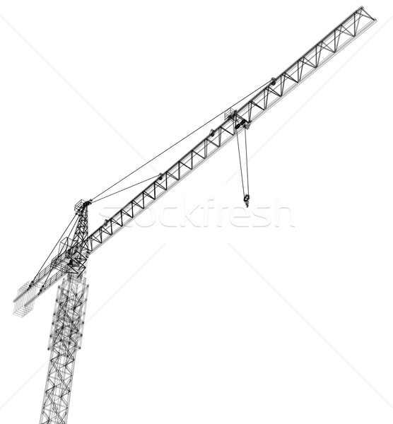 Foto stock: Torre · construção · guindaste · vetor · 3D