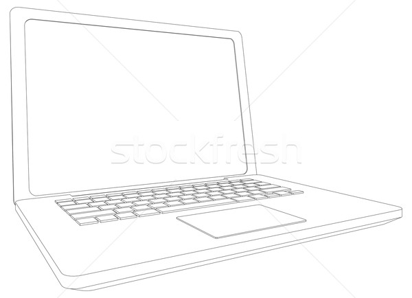 Wireframe Open laptop perspectief Stockfoto © cherezoff