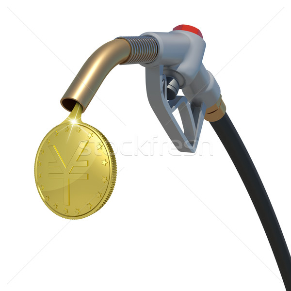 Gold yen coin flowing from fuel nozzle Stock photo © cherezoff