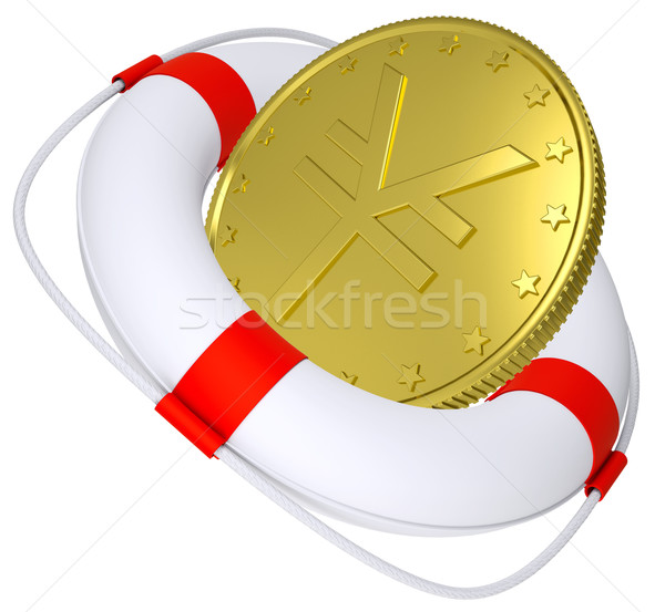 Lifebuoy with golden yen Stock photo © cherezoff