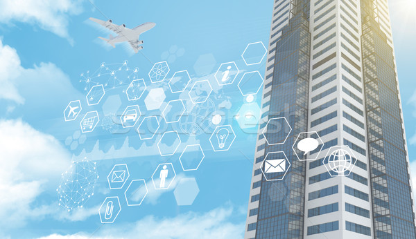 Stock photo: Business center with icons and molecule