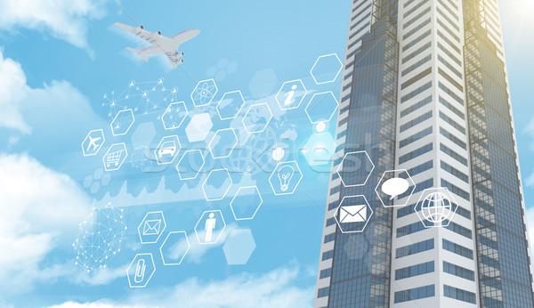 Business centrum iconen jet blauwe hemel auto Stockfoto © cherezoff