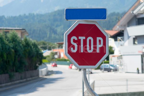 車 一時停止の標識 景観 道路 ツリー 建物 ストックフォト © cherezoff