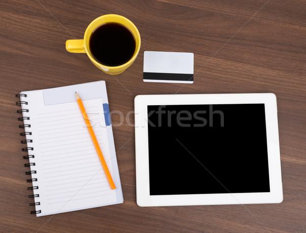 Schönschreibheft Tablet leer Karte Holztisch Holz Stock foto © cherezoff