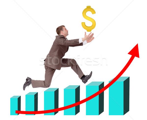 Biznesmen uruchomiony wykres znak dolara odizolowany biały Zdjęcia stock © cherezoff