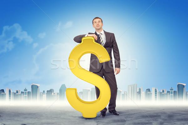 Işadamı dolar işareti Cityscape ofis yüz Stok fotoğraf © cherezoff