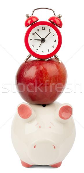 Friss piros alma ébresztőóra persely izolált fehér Stock fotó © cherezoff
