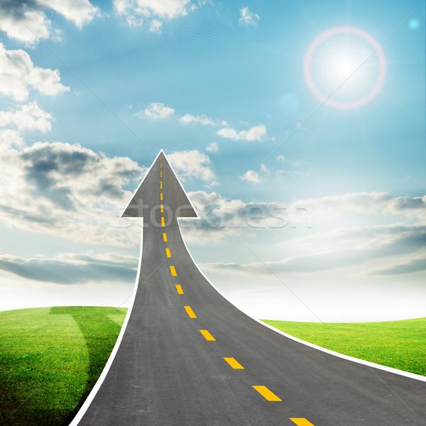 шоссе дороги вверх стрелка небе солнце Сток-фото © cherezoff