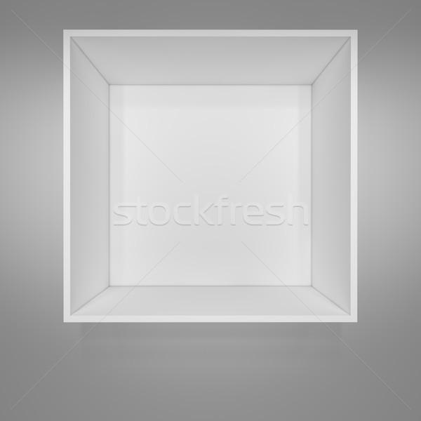 Pusty biały półka na książki szary 3d ilustracji domu Zdjęcia stock © cherezoff