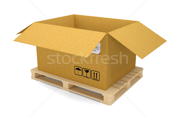 Cardboard box on pallet. Isolated Stock photo © cherezoff