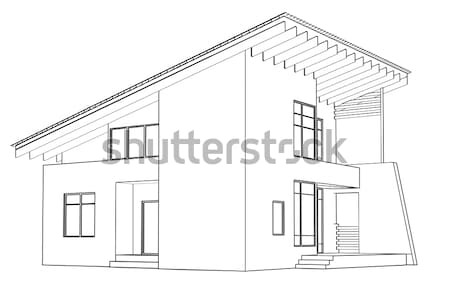Mimari izim ev perspektif ev bina stok for Architecture modern house design 2 point perspective view