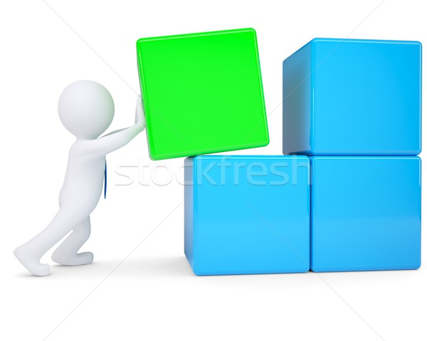 3d white man collects large cube of blocks Stock photo © cherezoff