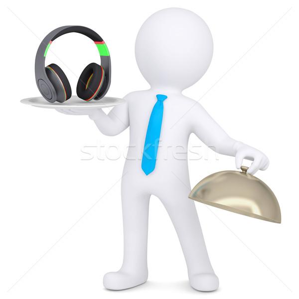 3d man holding headphones on a platter Stock photo © cherezoff
