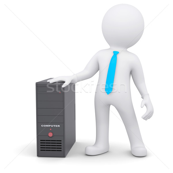 3d человек компьютер блок 3D белый человек Сток-фото © cherezoff