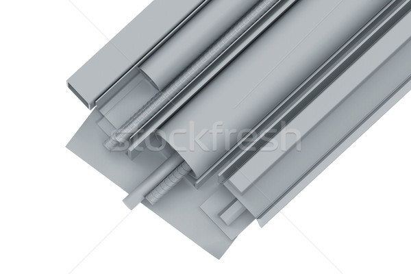 Stock photo: Metal pipes, angles, channels, fixtures and sheet