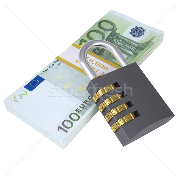 Combination lock on a pack of lies euros Stock photo © cherezoff