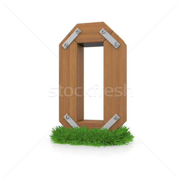 Wooden letter O in the grass Stock photo © cherezoff