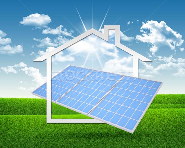Solar battery and symbol of house Stock photo © cherezoff