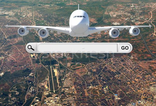 Búsqueda bar navegador avión ciudad negocios Foto stock © cherezoff