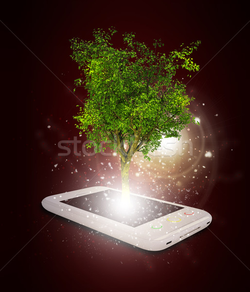 Okostelefon varázslatos zöld fa sugarak fény sötét Stock fotó © cherezoff
