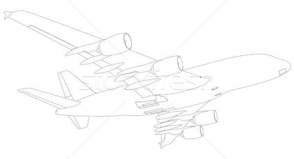 Esboço avião fundo ver isolado branco Foto stock © cherezoff