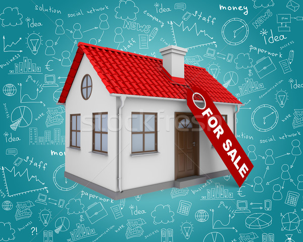 Home for sale real estate sign and small house Stock photo © cherezoff