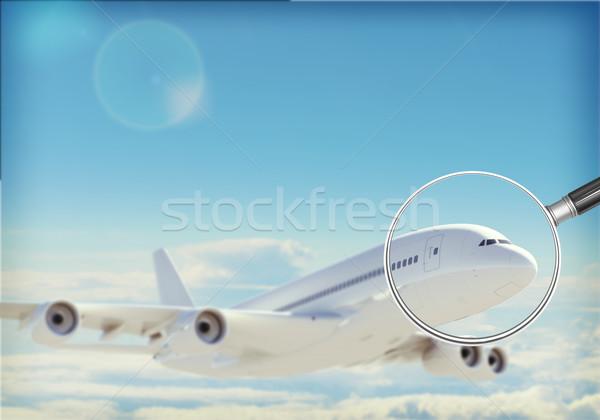 Jet Błękitne niebo chmury silnika windy Zdjęcia stock © cherezoff