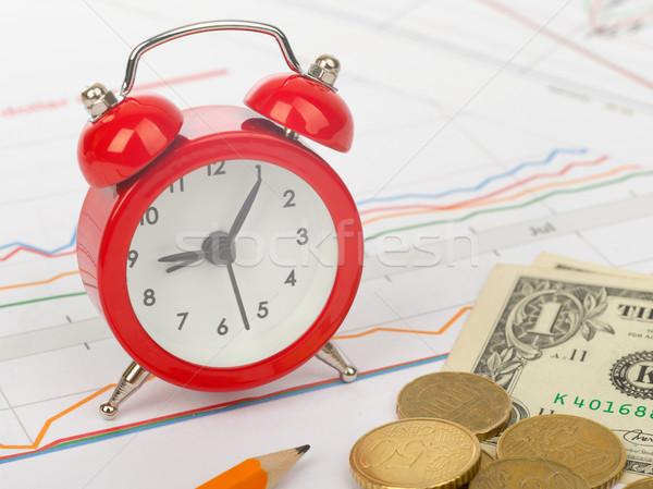 ébresztőóra üzlet iratok ceruza pénz óra Stock fotó © cherezoff