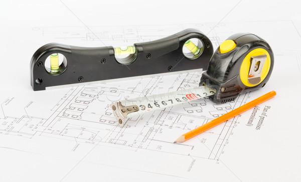 Fita métrica lápis nível gráfico fita Foto stock © cherezoff