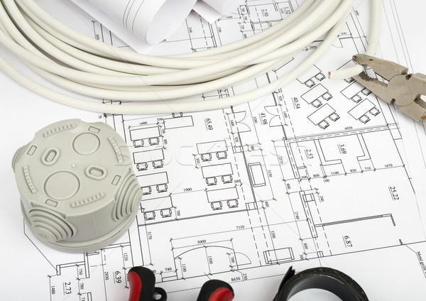 Photo stock: Architecture · plan · blueprints · gris · plastique