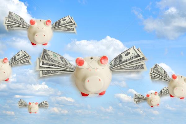 Bancos voador livre céu dólar Foto stock © cherezoff