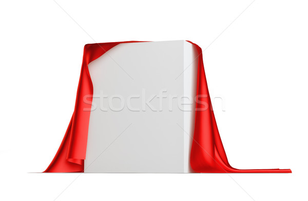 Rouge drap couvert blanche cube 3d illustration Photo stock © cherezoff