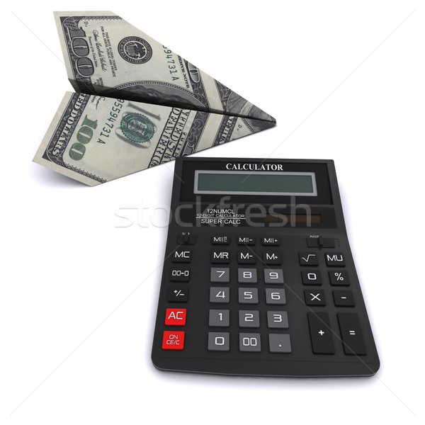 Black office calculator and paper airplane made from a $ 100 bill. 3D rendering on a white backgroun Stock photo © cherezoff
