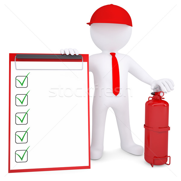 3d man with fire extinguisher and checklist Stock photo © cherezoff