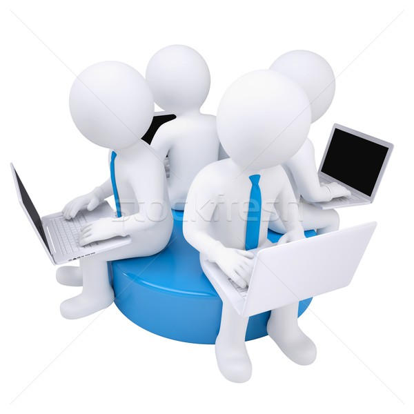 Four 3d man with laptop sitting on a blue disk Stock photo © cherezoff