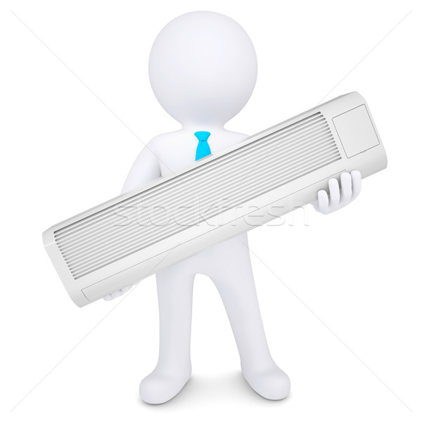 O homem 3d condicionador isolado tornar branco Foto stock © cherezoff