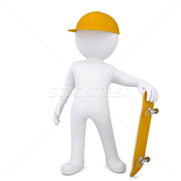 3D beyaz adam kaykay yalıtılmış vermek beyaz Stok fotoğraf © cherezoff
