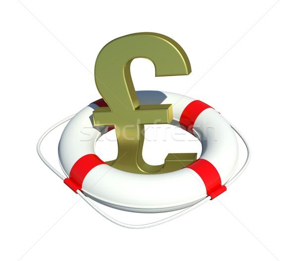 Pound sign in lifebuoy Stock photo © cherezoff