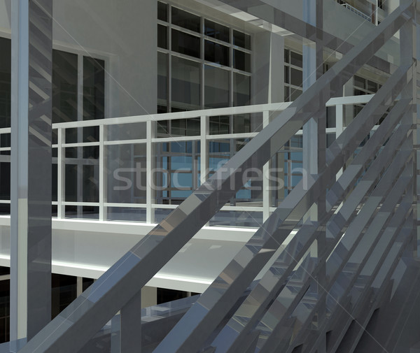 Architecture: staircase and windows Stock photo © cherezoff
