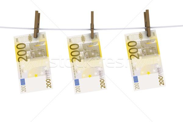 Euros pince à linge ligne vêtements argent Finance Photo stock © cherezoff