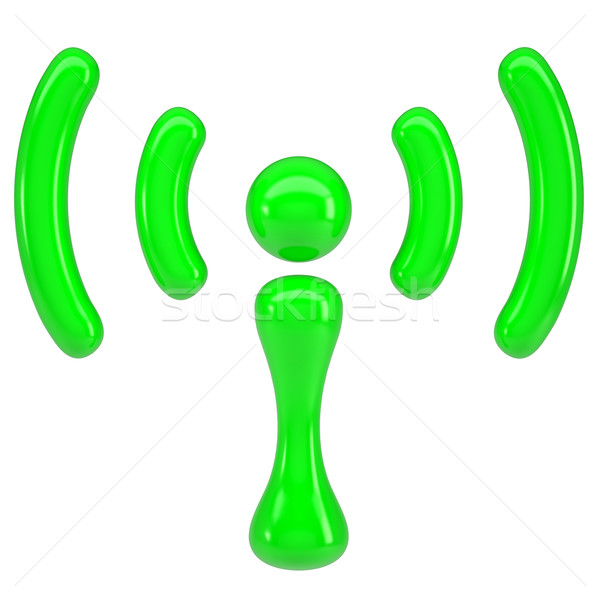 зеленый знак wi-fi изолированный оказывать белый Сток-фото © cherezoff
