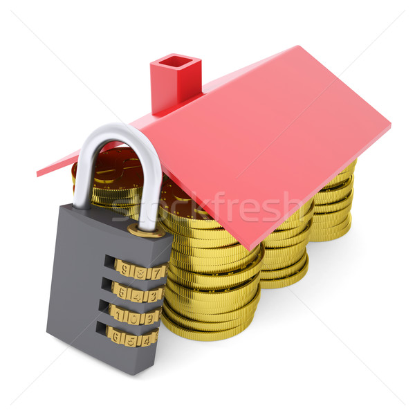 House made of dollars and combination lock Stock photo © cherezoff