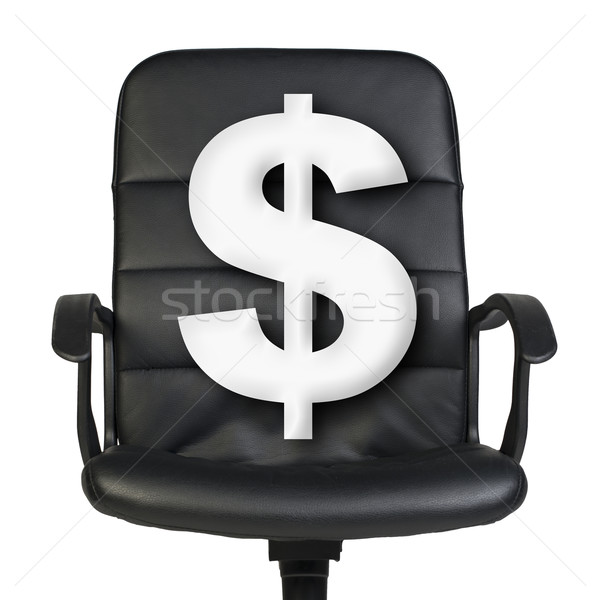 Stock photo: White dollar sign stands in chair. Isolated on white background