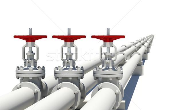 Three white pipes with valves Stock photo © cherezoff