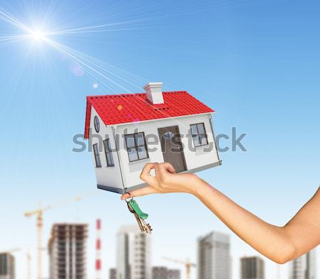 Hand holding house and bunch of keys. In background, green hills with grass, roads, sidewalk sign Stock photo © cherezoff