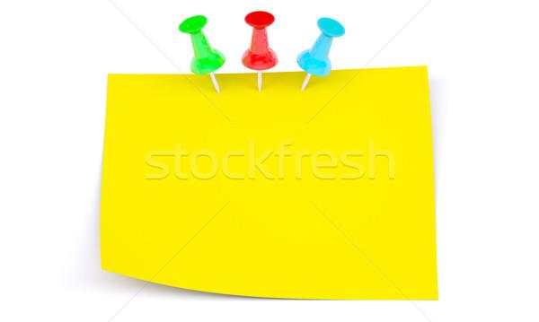Yellow sticker with colrful drawing pins Stock photo © cherezoff