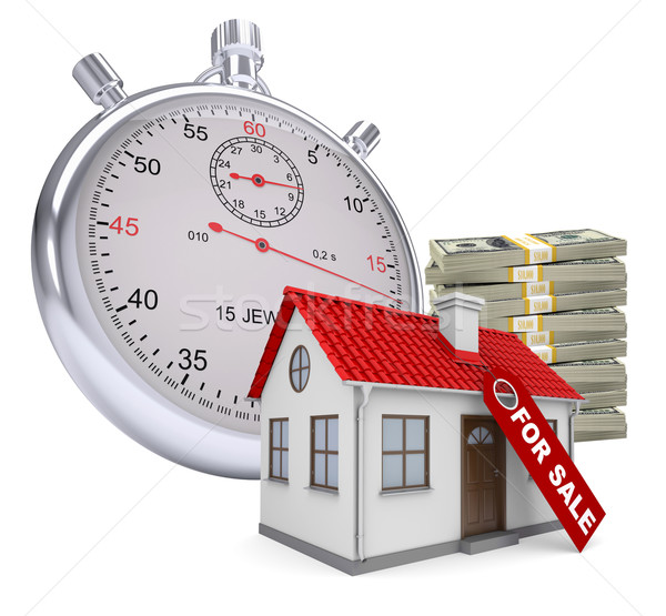 Timer with house for sale and stack of money Stock photo © cherezoff